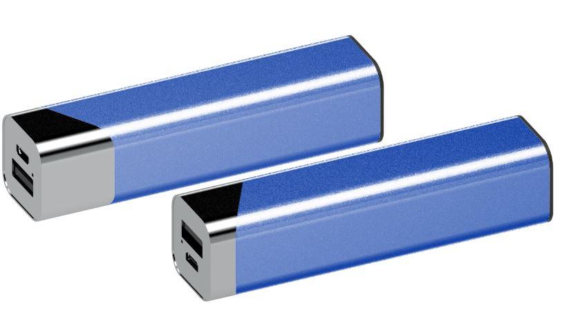 Powerbank Square chroom-blauw