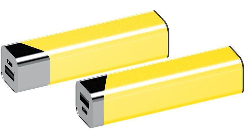 Powerbank Square chroom-geel