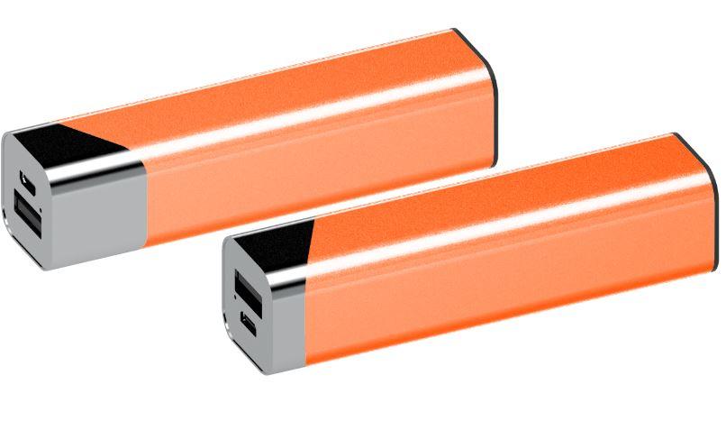 Powerbank Square chroom-oranje