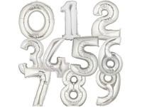 Folieballonnen cijfer 4 (zilver)