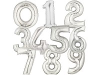 Folieballonnen cijfer 9 (zilver)