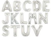 Folieballonnen letter 'W' (zilver)