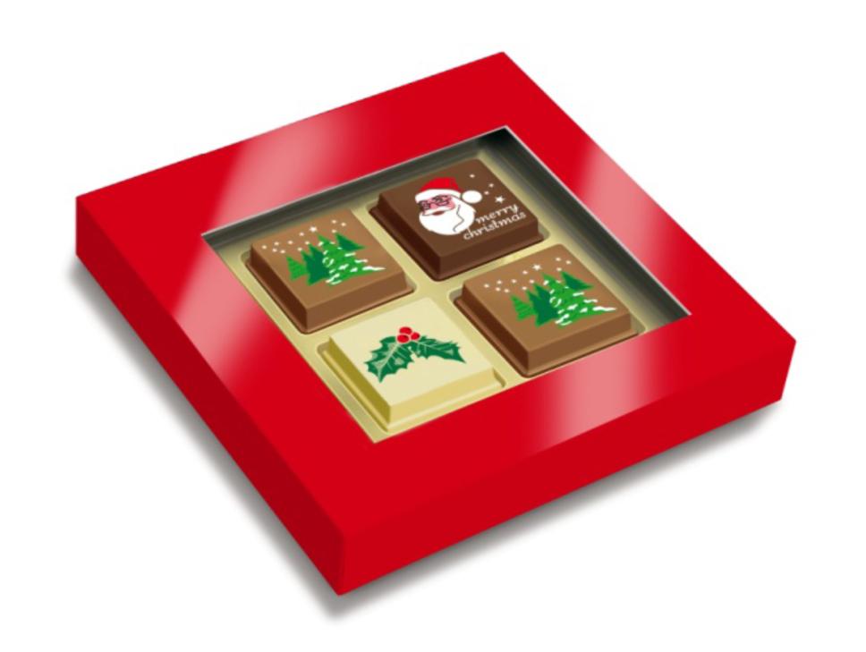 Geschenkdoosje met 2 Kerstpralines + 2 logopralines