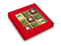 Geschenkdoosje met 6 Kerstpralines + 3 logopralines