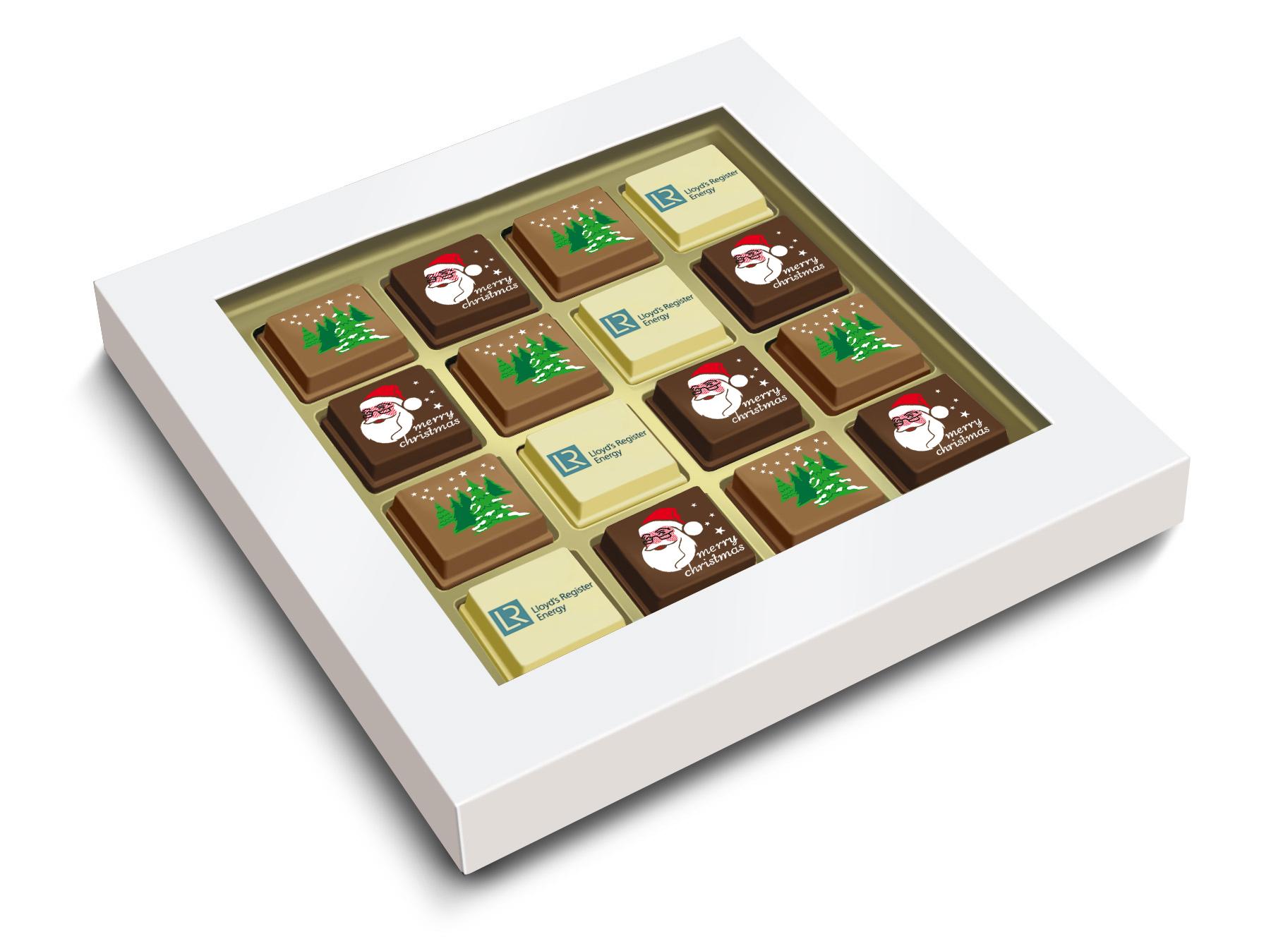 Geschenkdoosje met 12 Kerstpralines + 4 logopralines