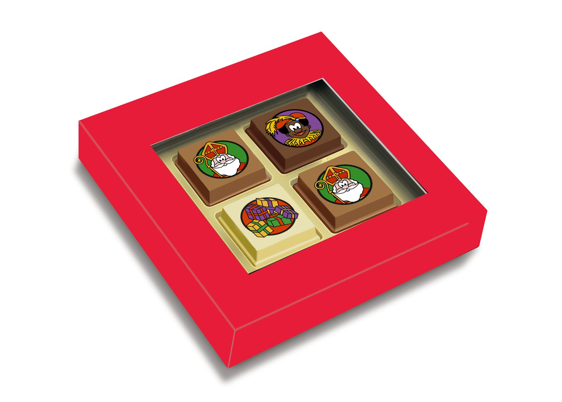 Geschenkdoosje met 2 Sintpralines + 2 logopralines