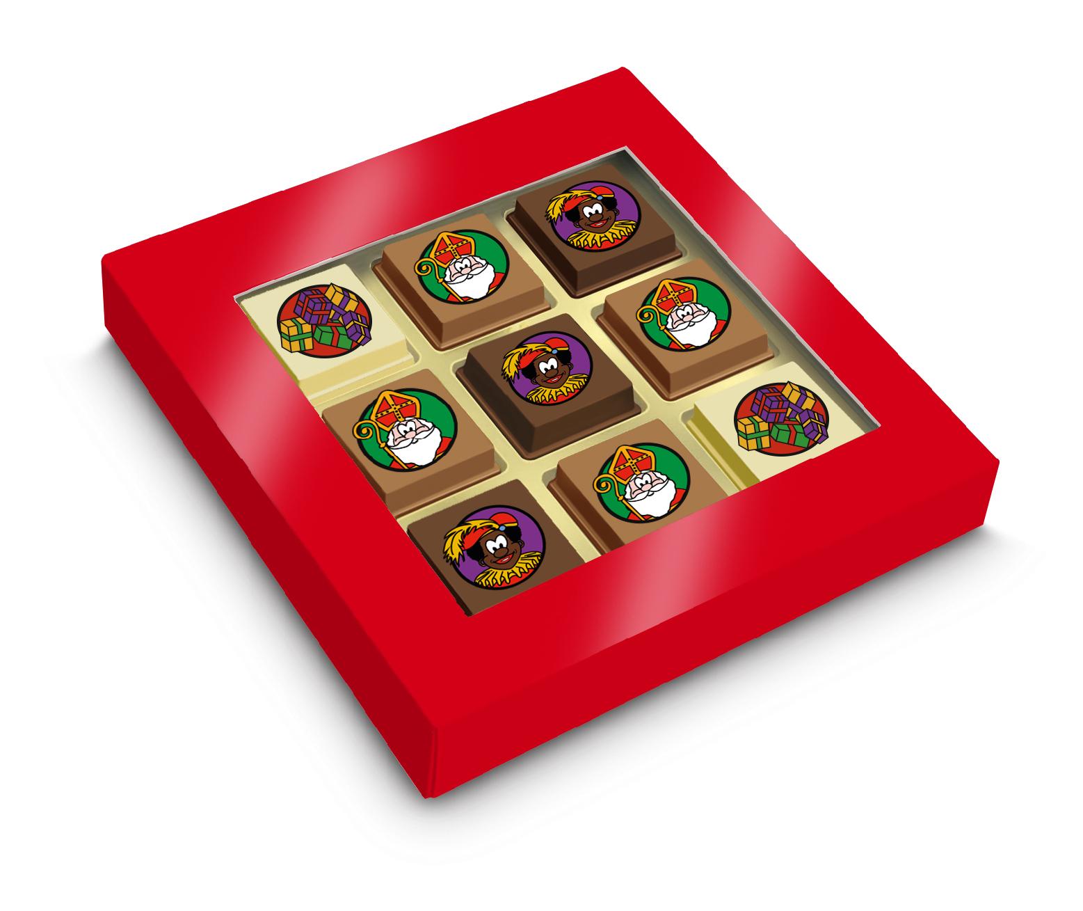 Geschenkdoosje met 6 Sintpralines + 3 logopralines