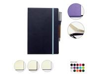 Notitieboekje met gepreegdrukte stiksel ontwerp, elastieksluiting, opbergvakje & penhouder in A5-formaat