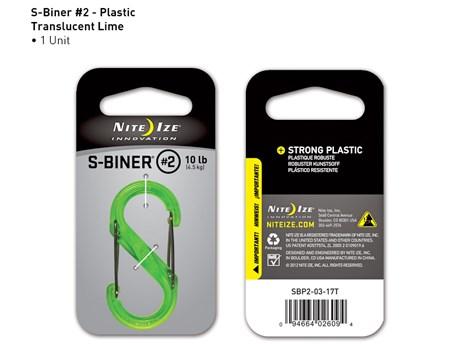 Nite Ize S-Biner Plastic #2 Lime Translucent