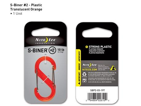 Nite Ize S-Biner Plastic #2 Orange Translucent