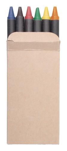 6 waskrijtjes in een kartonnen doosje