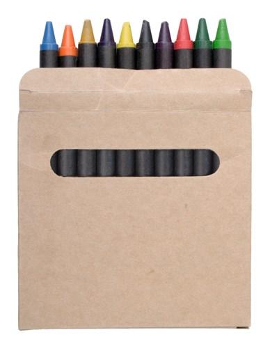 12 waskrijtjes in een kartonnen doosje