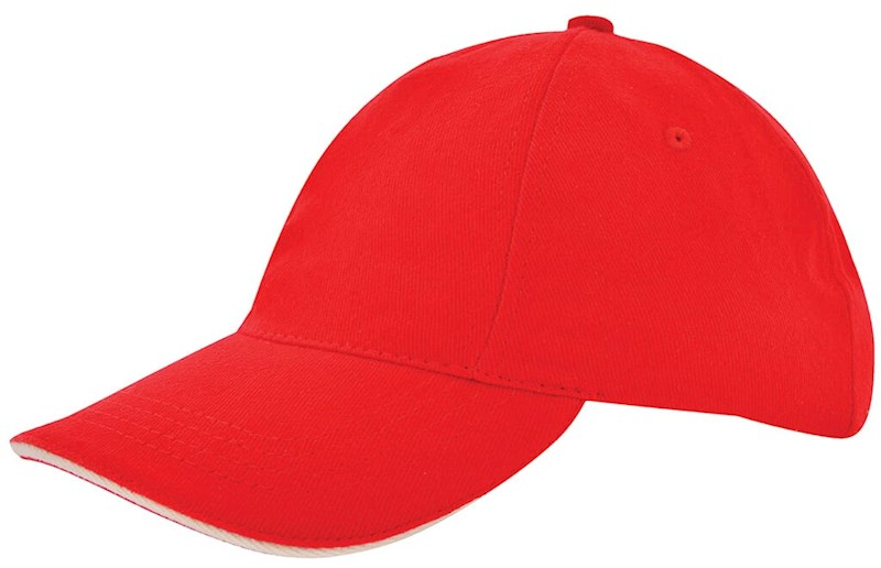 Kinder Brushed Promo Cap Rood acc. Naturel