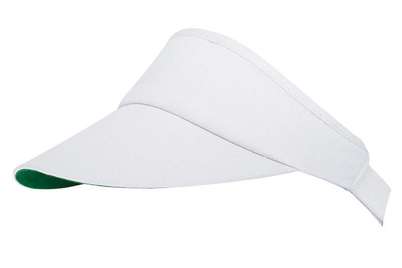 Zonneklep Wit met groene onderkant