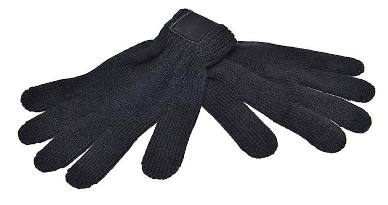 Retro Gebreide Handschoenen met Label Zwart acc. Z