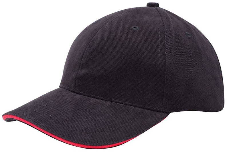 Heavy Brushed Cap Zwart acc. Rood