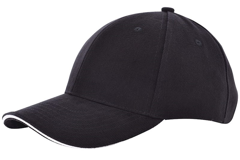 Heavy brushed cap Zwart acc. Wit