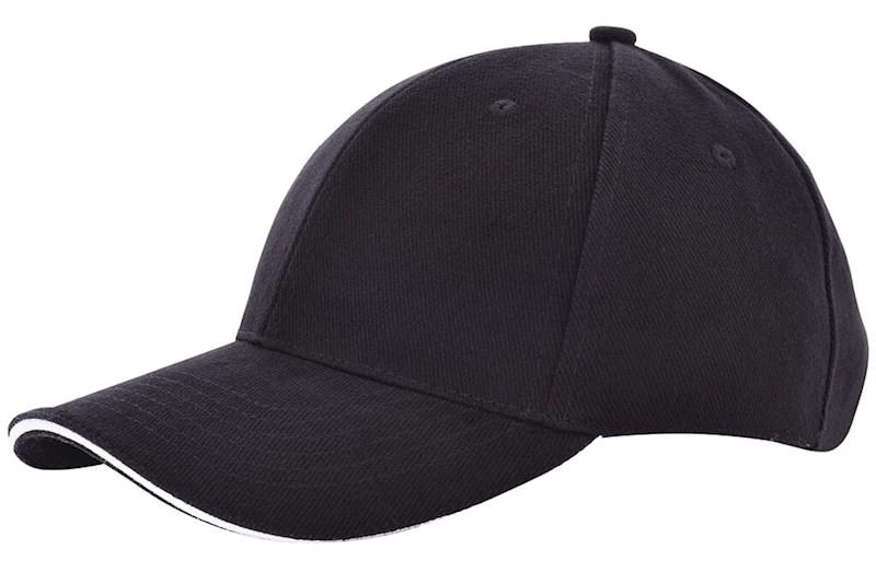 Heavy brushed cap Zwart acc. Wit