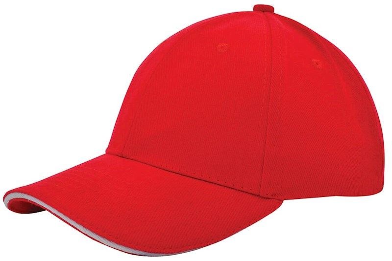Heavy Brushed Cap Rood acc. Wit