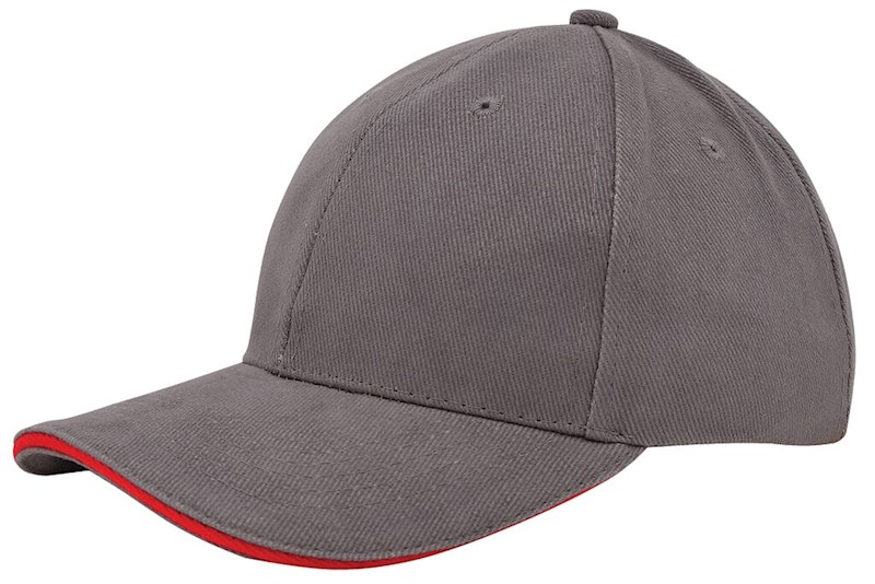 Heavy Brushed Cap Grijs acc. Rood