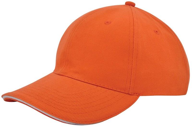 Heavy Brushed Cap Oranje acc. Wit