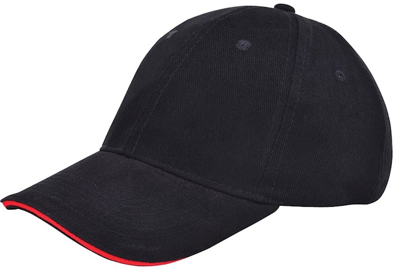 Brushed Twill Cap Zwart acc. Rood
