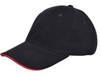 Brushed Twill Cap Zwart acc. Rood