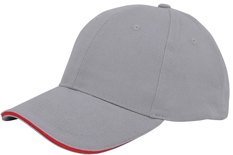 Brushed Twill Cap Grijs acc. Rood