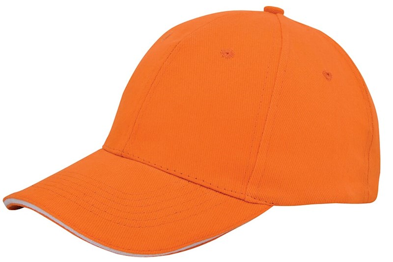 Brushed Twill Cap Oranje acc. Wit