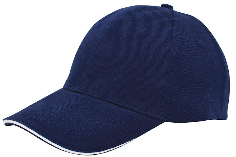 Brushed Twill Cap Marineblauw acc. Wit