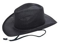 Cowboy Strohoed Met Koord Zwart acc. Zwart