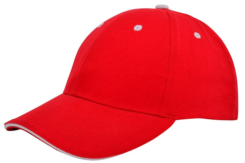 Brushed Sandwich Cap Rood acc. Wit