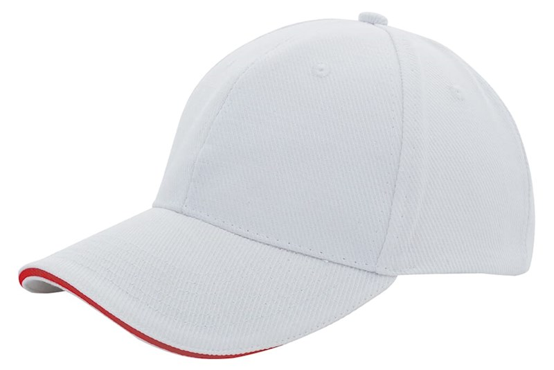 Canvas Sandwich Cap Wit acc. Rood