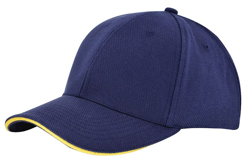 Canvas Sandwich Cap Navy acc. Geel
