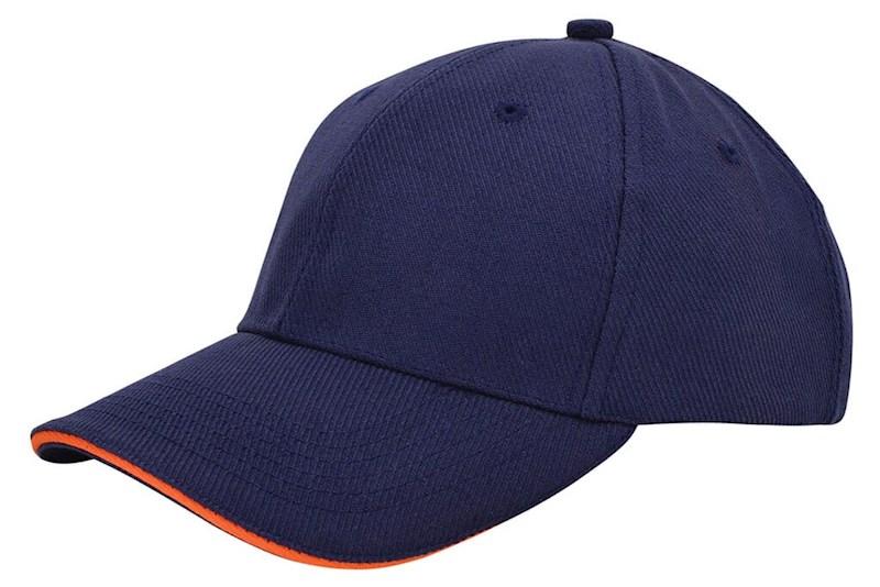 Canvas Sandwich Cap Navy acc. Oranje