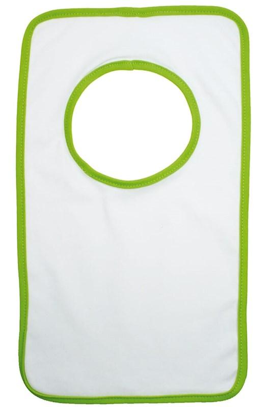 Baby Slabbertje 220 gr/m2 Katoen Jersey Wit acc. Groen