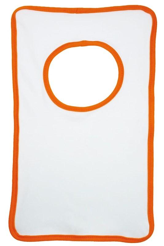 Baby Slabbertje 220 gr/m2 Katoen Jersey Wit acc. Oranje