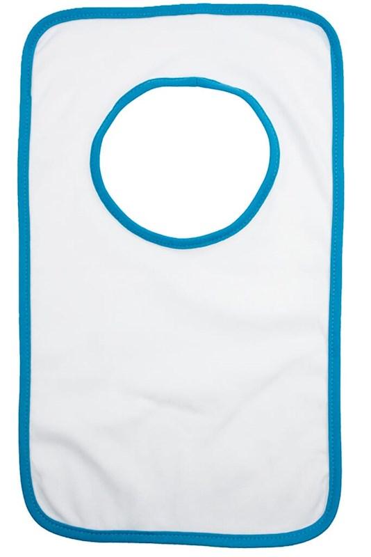 Baby Slabbertje 220 gr/m2 Katoen Jersey Wit acc. Lichtblauw