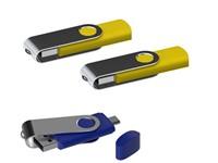 USB stick Twister met Micro USB geel 4Gb