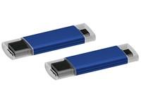 USB stick Microtech OTG 2.0 met micro USB blauw 16GB