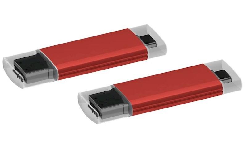 USB stick Microtech OTG 2.0 met micro USB rood 64GB