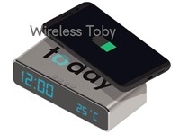 Draadloze oplader Toby 5W met digitale klok-wekker-temp. zilvergrijs