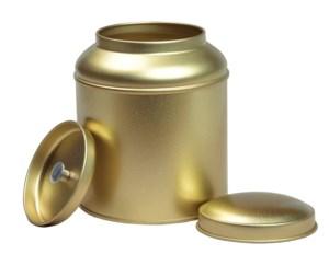 Blik met dubbel (koepel)deksel - goud
