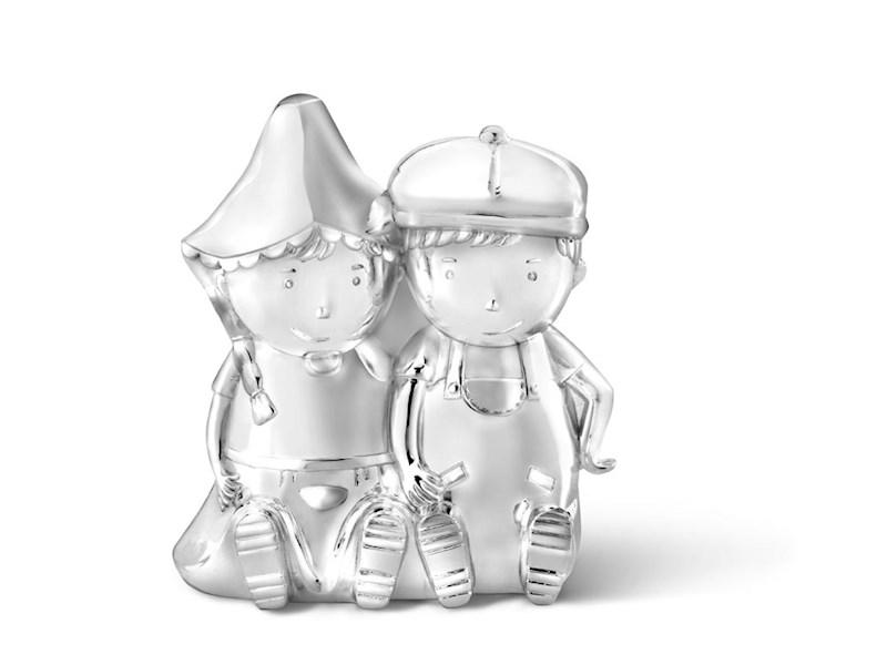 Spaarpot Fien & Teun, verzilverd gelakt