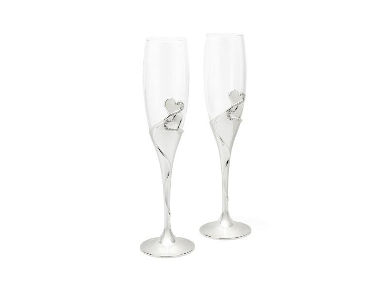 Champagneglazen Hart, set van 2, verzilverd gelakt