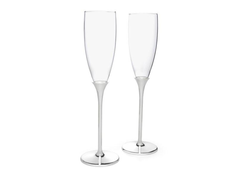 Champagneglazen Smooth, set van 2, verzilverd gelakt