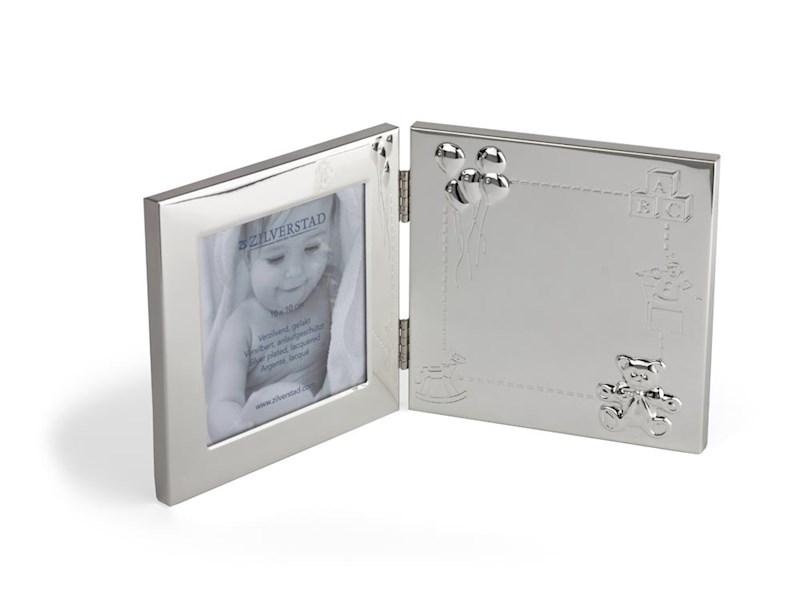 Fotolijst Happy Baby 9x9 cm, verzilverd gelakt