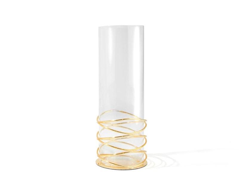 Windlicht/vaas Spiral, goudkleurig, klein