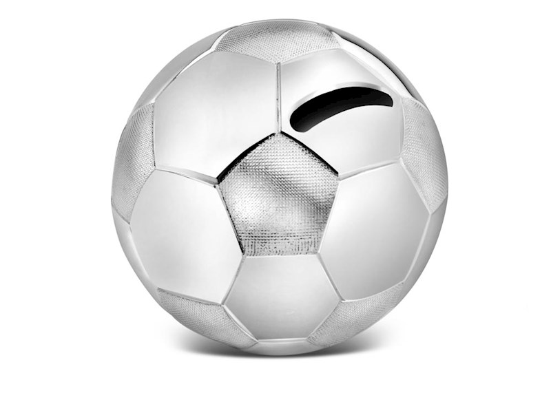 Spaarpot Voetbal, verzilverd gelakt