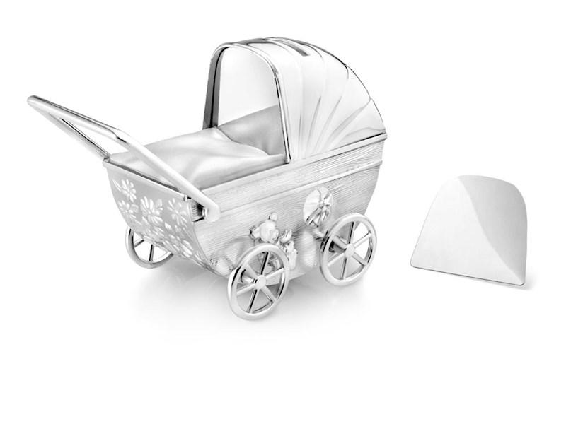 Spaarpot Kinderwagen met graveerplaatje, verzilverd gelakt